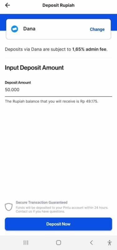 cara deposit rupiah di Pintu dengan DANA