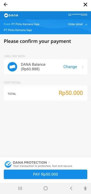 deposit rupiah e-wallet DANA
