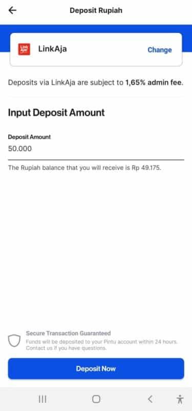 deposit rupiah di Pintu dengan LinkAja