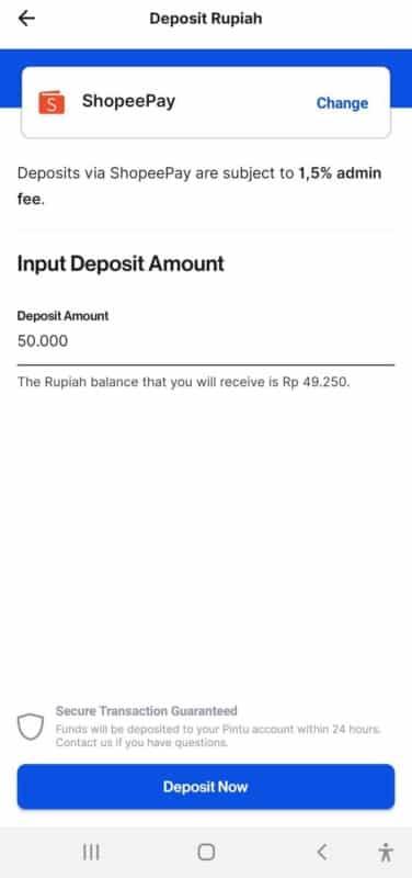 deposit rupiah di Pintu dengan ShopeePay
